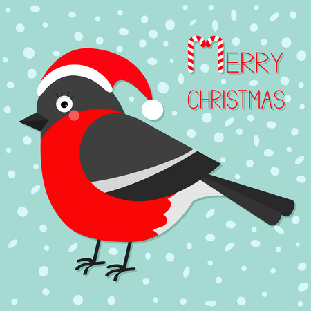 Merry Christmas greeting card. Bullfinch winter red feather bird. Santa hat. Candy cane text. Cute cartoon funny character. Baby collection. Flat design. Blue snow background Vector illustration
