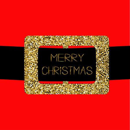 santa claus coat with gold glitter belt merry christmas greeting card flat design - Santa Claus Belt