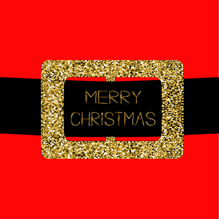 Santa Claus Coat with gold glitter belt. Merry Christmas greeting card. Flat design. Red background Vector illustration