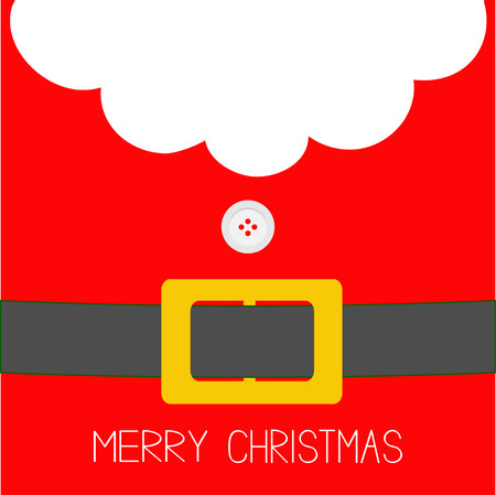 Santa Claus Coat, button and yellow belt. Beard, fur. Merry Christmas greeting card. Red background. Flat design. Vector illustration