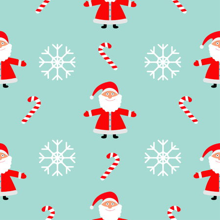 Christmas snowflake candy cane, Santa Claus wearing red hat. Seamless Pattern Decoration. Wrapping paper, textile template. Blue background. Flat design. Vector illustration.