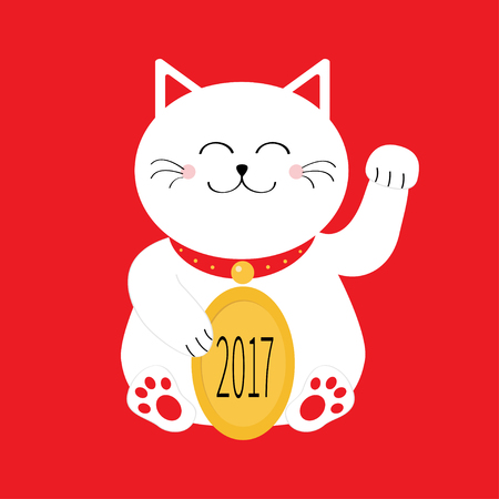 Lucky white cat sitting and holding golden coin 2017 text. Japanese Maneki Neco kitten waving hand paw. Cute cartoon character Greeting card Flat Red background. Vector illustration
