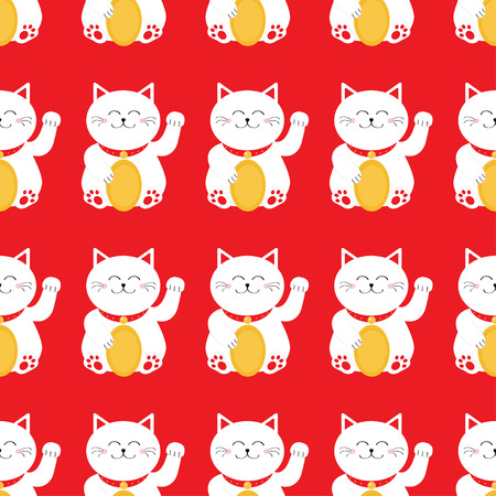 Lucky cat holding golden coin. Japanese Maneki Neco kitten waving hand paw. Seamless Pattern Cute character. Wrapping paper, textile template. Red background. Flat design. Vector illustration.