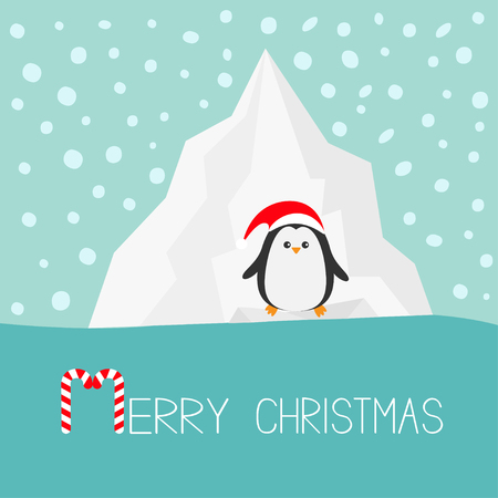 Penguin in red Santa hat. Iceberg Blue water Snow in the sky Flat design Winter background. Merry Christmas Candy cane text. Greeting card. Vector illustration