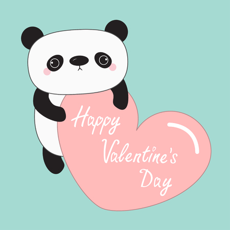 child holding sign: panda baby bear. Happy Valentines Day. Cute cartoon character holding big pink heart. Wild animal collection for kids. Blue background. Love card. Flat design. Vector illustration