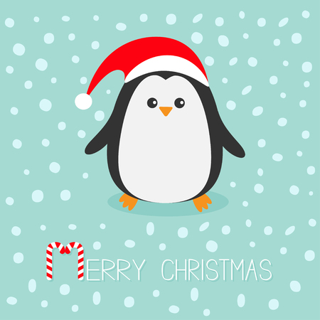 Penguin wearing Santa red hat. Cute cartoon character. Flat design Winter antarctica bluebackground with snow. Merry Christmas Candy cane text. Greeting card. Vector illustration