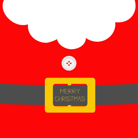 Santa Claus Coat with beard, fur, button and yellow belt. Merry Christmas greeting card. Red background. Flat design Vector illustration