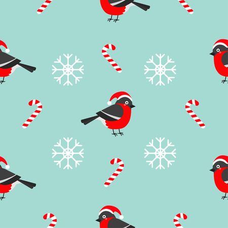 Christmas bullfinch bird wearing red santa hat, snowflake, candy cane. Seamless Pattern Decoration. Wrapping paper, textile template. Blue background. Flat design. Vector illustration.