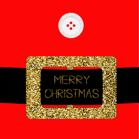Santa Claus Coat with button and gold glitter belt. Merry Christmas greeting card. Flat design. Red background Vector illustration Illustration