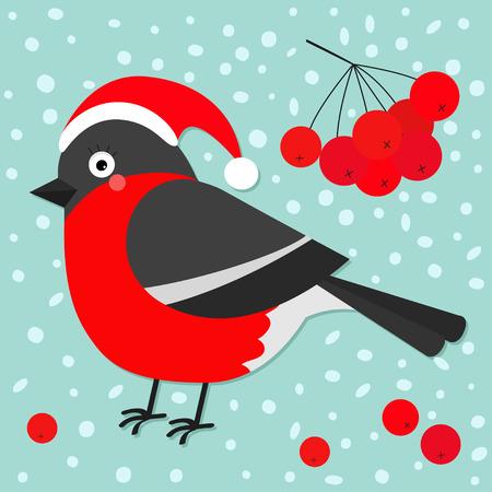 Bullfinch winter red feather bird, rowan rowanberry sorb berry tree branch. Santa hat. Cute cartoon funny character. Baby collection. Flat design. Blue snow background Vector illustration Illustration