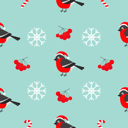 rowanberry: Christmas snowflake, rowan rowanberry sorb, bullfinch bird wearing red santa hat. Seamless Pattern Decoration. Wrapping paper, textile template. Blue background. Flat design. Vector illustration. Illustration