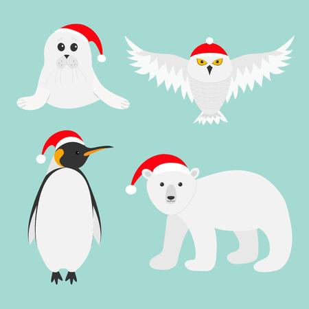 arpa: Conjunto del animal polar ártico. oso blanco, búho, Pingüino emperador Aptenodytes patagonicus, las crías de foca de Groenlandia del bebé en el sombrero rojo de Santa. tarjeta de la Feliz Navidad. Invierno Diseño plano fondo azul antarctica. Vector