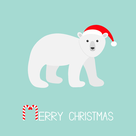 Arctic polar bear cub. Red Santa hat. Cute cartoon baby character. Merry Christmas greeting card. Candy cane stick text. Flat design. Blue background. Vector illustration Illustration