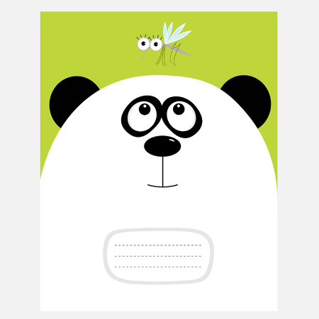 composition notebook: Notebook cover Composition book template. Panda bear big head looking at honey mosquito insect. Cute cartoon character. Baby animal collection Green background Flat design Vector illustration