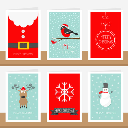 costume ball: Snowflake, ribbon, Santa Claus costume belt, animal bullfinch, ball, snowman, deer. Merry Christmas text. Greeting card set Flat design Vector illustration.