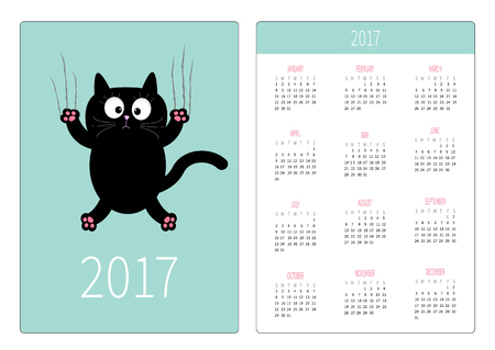 cat's eye glasses: Pocket calendar 2017 year. Week starts Sunday. Flat design Vertical orientation Template. Cartoon black cat claw scratch glass. Cute character. Blue sky background. Isolated. Vector illustration