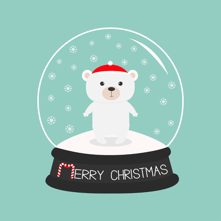 Arctic polar baby bear cub in red santa hat. Cute cartoon character. Crystal ball with snow. Merry Christmas card Candy cane text. Flat design Blue background. Vector illustration Illustration