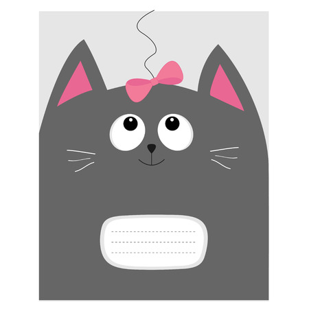 composition notebook: Notebook cover Composition book template. Gray cat kitty head looking at pink bow. Cute cartoon character. Pet baby collection. Flat design. White background. Vector illustration.