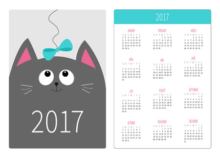 Pocket calendar 2017 year. Week starts Sunday. Flat design Vertical orientation Template. Gray cat kitty head looking at blue bow. Cute cartoon character. Pet baby collection. White background. Vector