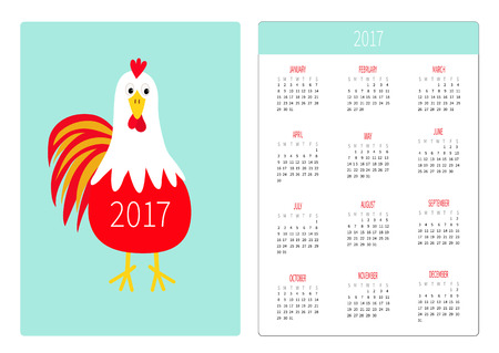 Pocket calendar 2017. Week starts Sunday. Flat design Vertical orientation Template. Red Rooster Cock bird. New Year symbol Chinese. Cute cartoon character. Farm animal Blue background. Vector