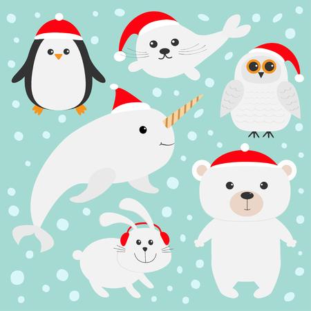 Noordpool polair die dier in rode Kerstmanhoed wordt geplaatst. Witte beer, uil, pinguïn, zeehondenjong baby harp haas konijn narwal eenhoornvis. Kinderen Kerstkaarten Blauwe achtergrond Sneeuw vlok Platte ontwerp Vector illustratie Stock Illustratie