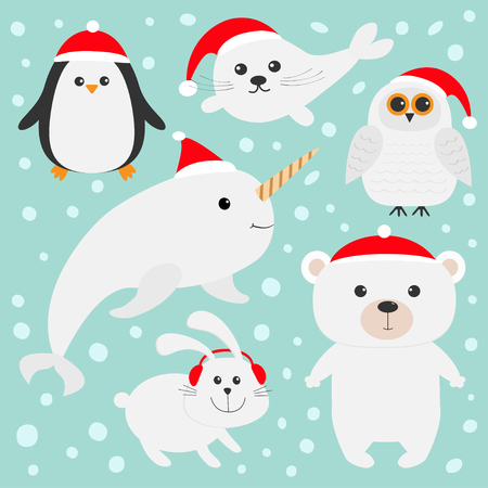 Arctic polar animal set in red Santa hat. White bear, owl, penguin, Seal pup baby harp hare rabbit narwhal unicorn-fish. Kids Christmas cards Blue background Snow flake Flat design Vector illustration