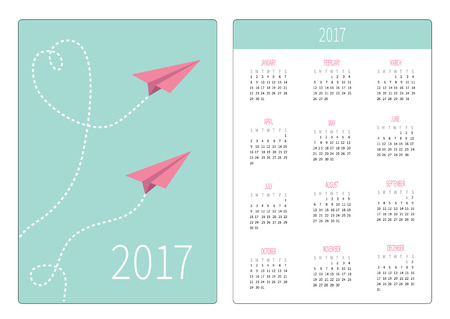 flying paper: Pocket calendar 2017 year. Week starts Sunday. Flat design Vertical orientation Template. Two flying paper planes. Heart dash line loop in the sky. Vector illustration