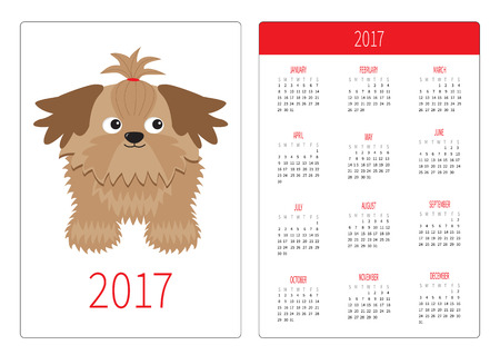 shihtzu: Pocket calendar 2017 year. Week starts Sunday. Flat design Vertical orientation Template. Little glamour tan Shih Tzu dog. Isolated. White background. Vector illustration Illustration