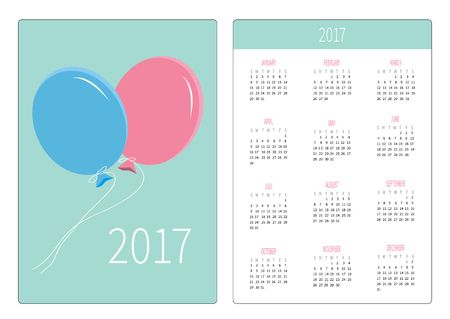 orientation: Pocket calendar 2017 year. Week starts Sunday. Flat design Vertical orientation Template. Two flying balloons. Blue background. Vector illustration