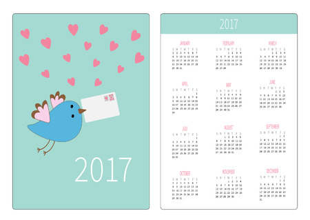 pocket calendar 2017 year week starts sunday flat design vertical