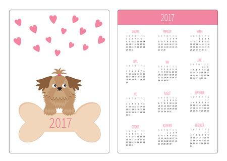 longhaired: Pocket calendar 2017 year. Week starts Sunday. Flat design Vertical orientation Template. Little glamour tan Shih Tzu dog, hearts and big bone. Isolated. White background. Vector illustration