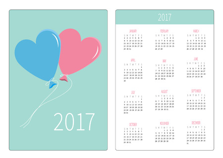 pink balloons: Pocket calendar 2017 year. Week starts Sunday. Flat design Vertical orientation Template. Blue and pink balloons in shape of heart. Valentines Day love card. Vector illustration