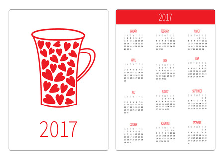 orientation: Pocket calendar 2017 year. Week starts Sunday. Flat design Vertical orientation Template. Red heart teacup. Love card. Vector illustration
