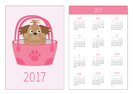 shihtzu: Pocket calendar 2017 year. Week starts Sunday. Flat design Vertical orientation Template. Little glamour tan Shih Tzu dog in the bag. Vector illustration Illustration