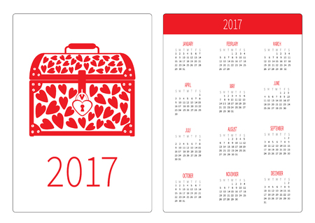 chest wall: Pocket calendar 2017 year. Week starts Sunday. Flat design Vertical orientation Template. Chest vase with red hearts. Love card. Vector illustration
