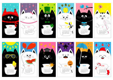 clover face: Cat vertical monthly calendar 2017. All month. Cute funny cartoon character set. Happy Valentines St Patrick day Christmas Easter Egg Bird Chicken Umbrella, rain. Santa hat, sun Flat design Vector