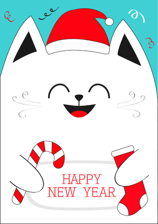 White Cat holding Happy New Year text, Candy cane, sock. Cute funny cartoon character.Confetti, red Santa hat. Flat design Blue background. Vector illustration Illustration