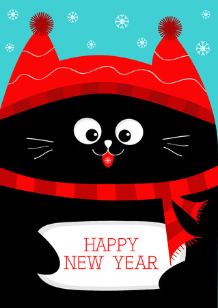 Black Cat holding Happy New Year. Cute funny cartoon character. Snow flake, red hat, scarf. Flat design Blue background. Vector illustration