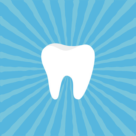 Healthy Tooth icon. Oral dental hygiene. Children teeth care. Blue sunburst starburst background with ray of light. Flat design. Vector illustration
