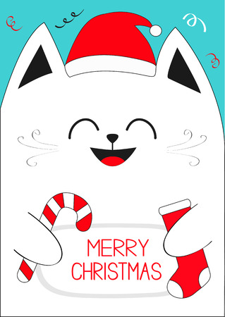 White Cat holding Merry Christmas text, Candy cane, sock. Cute funny cartoon character.Confetti, red Santa hat. Flat design Blue background. Vector illustration