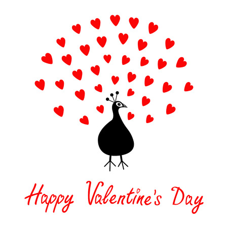 Peacock Open red heart set tail. Zoo animal collection. Exotic tropical bird. Cute cartoon character. Happy Valentines Day. Greeting card. White background. Flat design. Vector