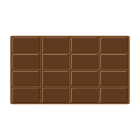 Chocolate bar icon. Tasty sweet food Milk dark dessert. Rectangle shape, horysontal piece. Modern simple style. Flat design. White background. Isolated. Vector illustration