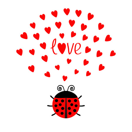 Red round lady bug insect with hearts. Cute cartoon character. Word Love Greeting card. Happy Valentines Day. White background. Flat design. Vector illustration Illustration