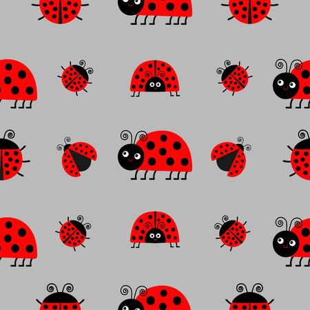 Ladybug Ladybird Icon Set. Baby Collection. Funny Insect. Seamless ...