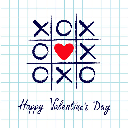 criss cross: Tic tac toe game with criss cross and red heart sign mark XOXO. Hand drawn blue pen brush. Doodle line. Happy Valentines day card Flat design. Exercise book White background. Paper sheet. Vector