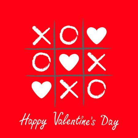 Tic tac toe game with criss cross and three white heart sign mark XOXO. Hand drawn pen brush. Doodle line. Happy Valentines day card Flat design Isolated. Red background. Vector illustration