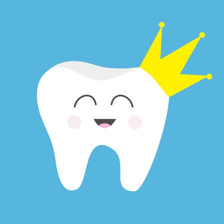 Icono de salud del diente Corona amarilla. Lindo personaje divertido de dibujos animados divertidos. Rey reina príncipe princesa Higiene dental oral. Cuidado de los dientes de los niños. Fondo de bebé. Diseño plano. Ilustración vectorial Ilustración de vector
