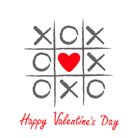 criss cross: Tic tac toe game with criss cross and red heart sign mark XOXO. Hand drawn brush. Doodle line. Happy Valentines day card Flat design Isolated. White background. Vector illustration