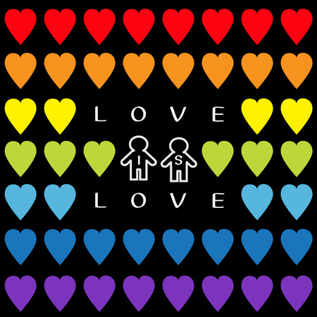 Love is love text. Rainbow heart set. Gay marriage Pride symbol Two contour man sign Seamless Pattern. Lgbt sign symbol. Black background. Isolated. Flat design. Vector illustration Illustration