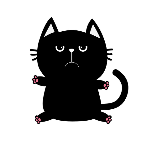 meow: Black cat icon. Cute funny cartoon grumpy character. animal. Big tail, whisker, eyes. Sad emotion. Kitty kitten Baby pet collection. White background. Isolated. Flat design. Vector illustration